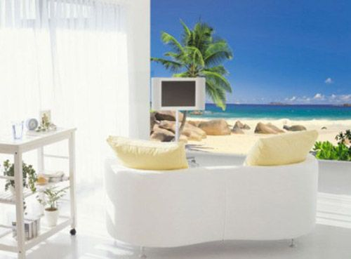 decoracion pared fotomoural playa seychelles