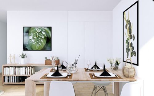 Scandinavian-Apartment-open-plan-dining-in-white-with-wooden-and-green-acccents-600x373