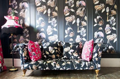 sofa y pared estampado