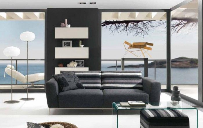 salon moderno frente al mar natuzzi