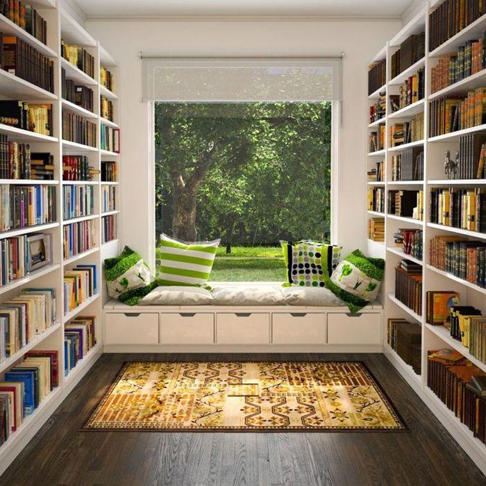 rincones de lectura liberias y ventanal