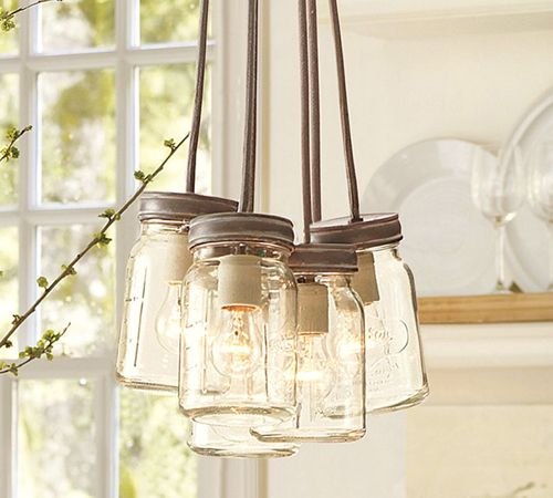 lampara exeter 5-jar pendant tienda pottery barn