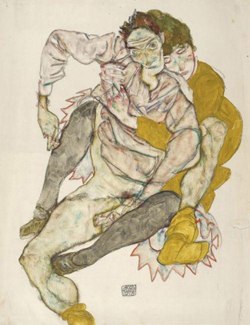 pareja sentada artista expresionista egon schiele