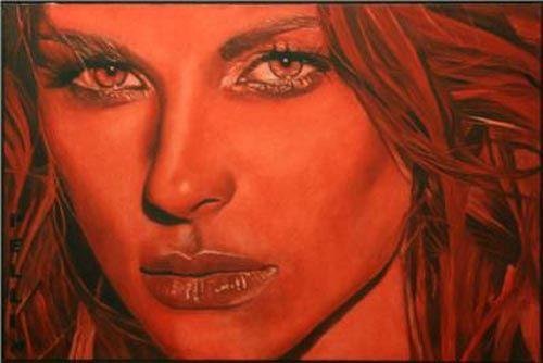 rosso vivo retrato mujer color rojo artista cinzia pellin