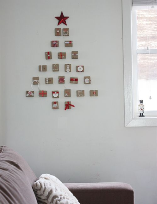 calendario adviento pared cajas