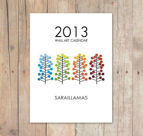 calendario pared 2013 ilustrado sarai llamas