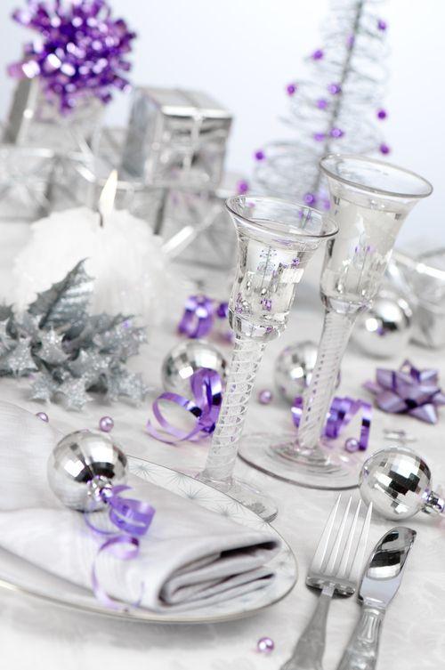 mesa blanco morado plata navidad