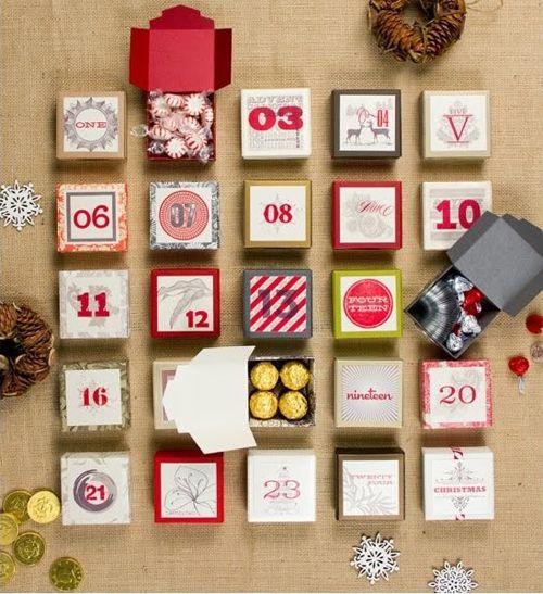 calendario adviento cajas colores