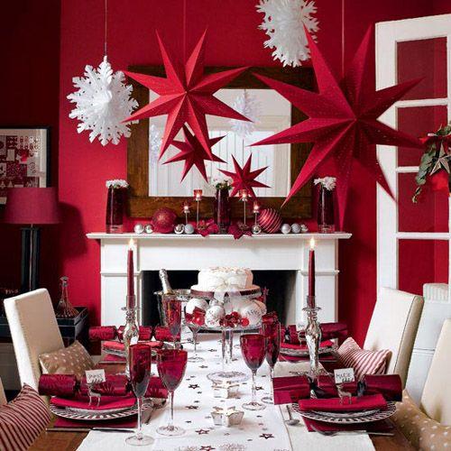 mesa navidad rojo estrellas