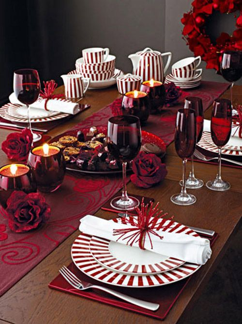 mesa navidad rosas rojas naturaleza