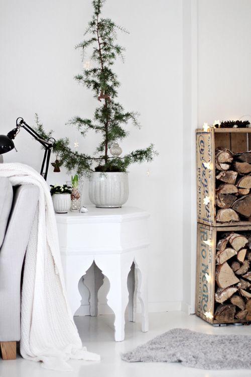 decoracion navidad planta adornos blanco