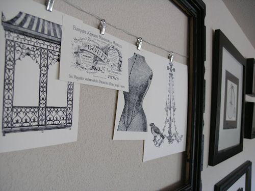 decorar paredes bocetos vintage