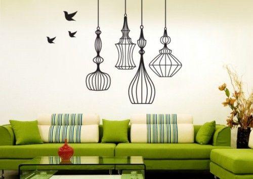 pegatinas pared jaulas pajaros decorar paredes