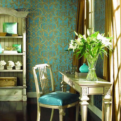 diseños vintage habitacion paredes azules