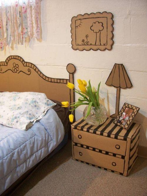 habitación decorada con detalles de carton