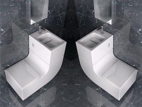 lavabo e inodoro reciclado agua en una pieza