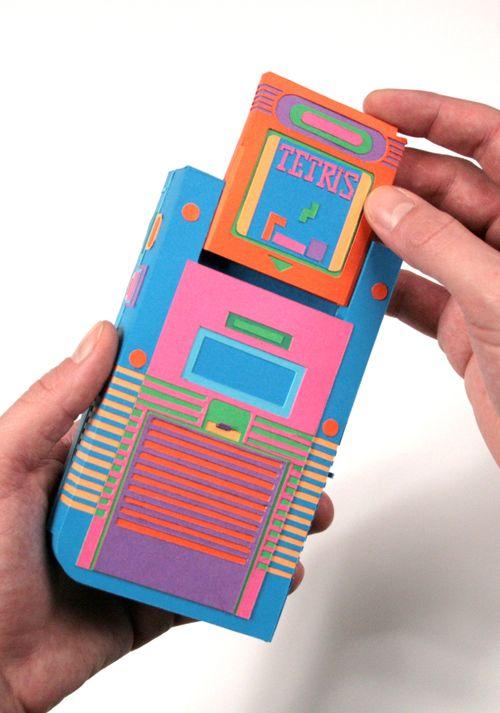 consola nintendo azul hecha papel zim and zou tetris