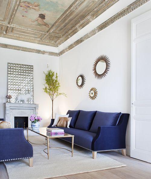 espacio decoracion sofa azul casa decor ministryofdeco.blogspot.com