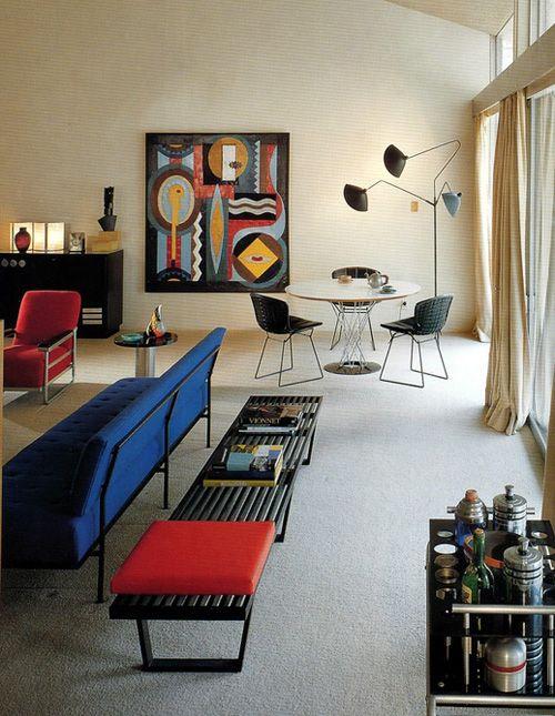 salon decorado estilo mid century modern