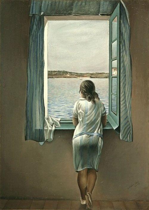 muchacha ventana salvador dali tematicasx.blogspot.com