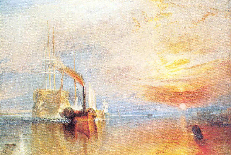 barco remolcado paisaje impresionista