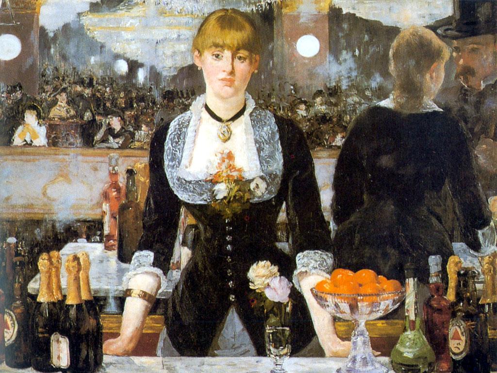 mujer en bar cuadro impresionista