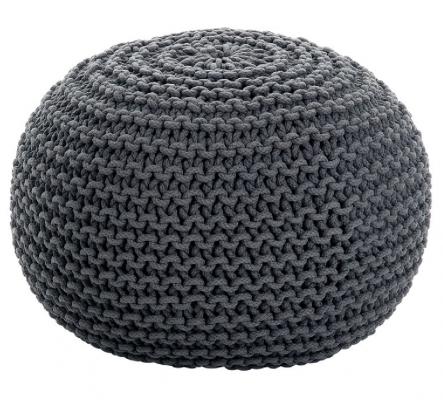Puff de lana gris