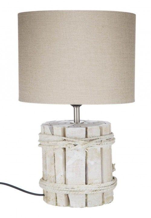 lampara madera blanca