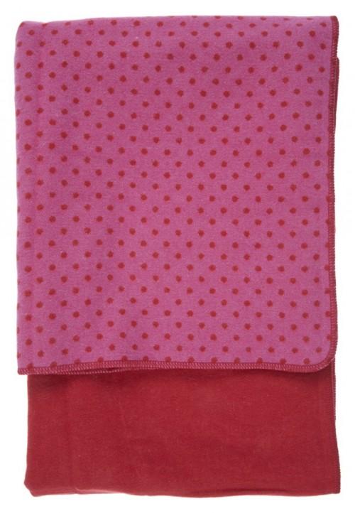 manta suave rosa lunares rojos
