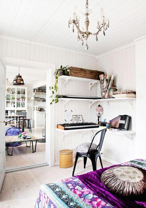 Dormitorio casa bohemia en Oslo