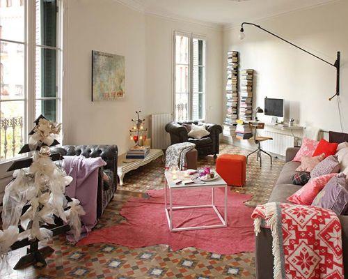 Salón suelo con azulejos hidráulicos