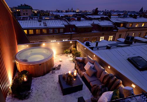 Terraza ático con aspecto nevado