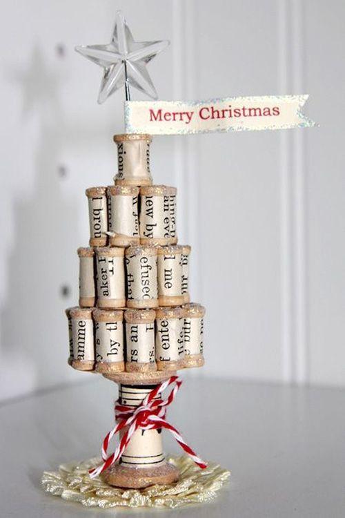 arbol navidad original diy creatividad decoracion corchos botella