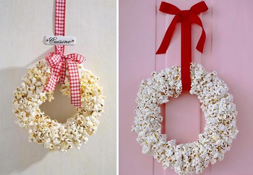 Coronas de Navidad palomitas