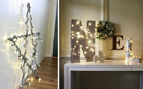 Decoración navideña con tiras de luces