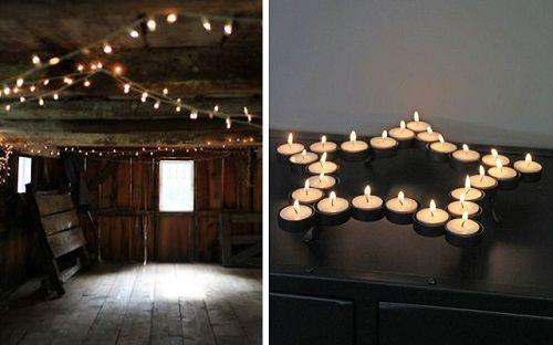 Iluminación navideña con velas y tiras de bombillas