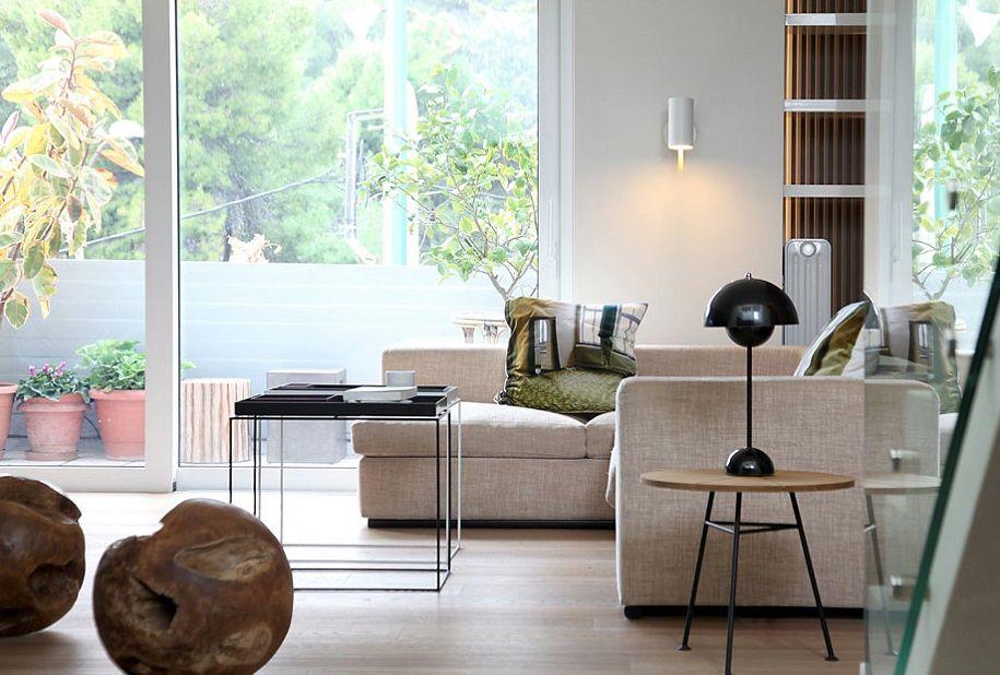 Moderno ático griego de estilo minimalista nórdico