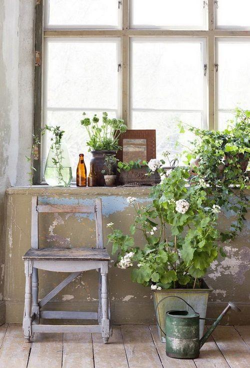 Hogar vintage decorado con flores