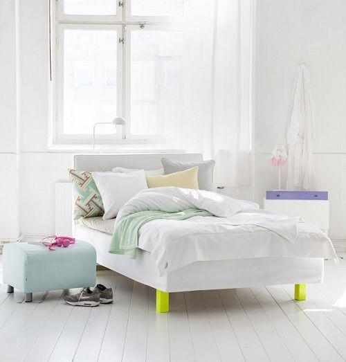 Dormitorio con tonos pastel