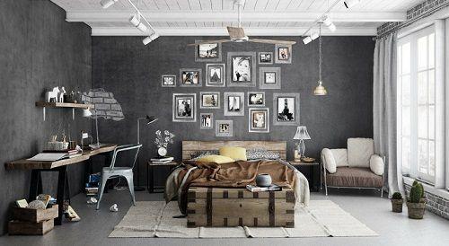Dormitorio decoración industrializada