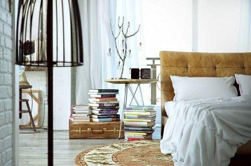 Dormitorio decorado con estética industrial