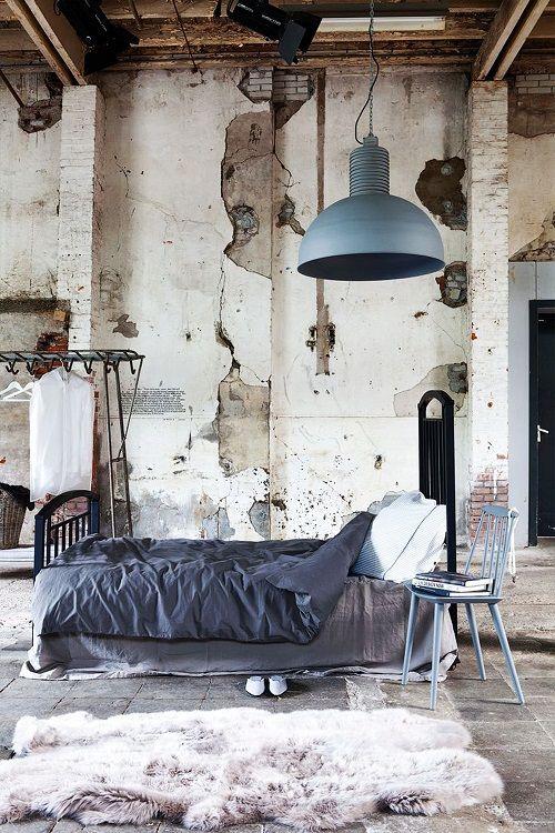 Dormitorio estética industrial