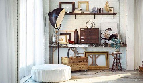 Rincón de hogar de estética industrial