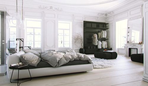 Parisian-Apartment-soft-white-bedroom-with-natural-light-and-black-accents-600x348