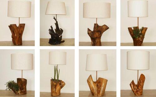 lamparas troncos diferentes