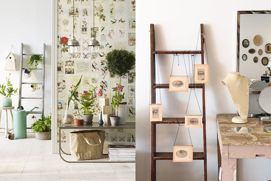 Ideas creativas para decorar con escaleras antiguas for Decorar pared escalera