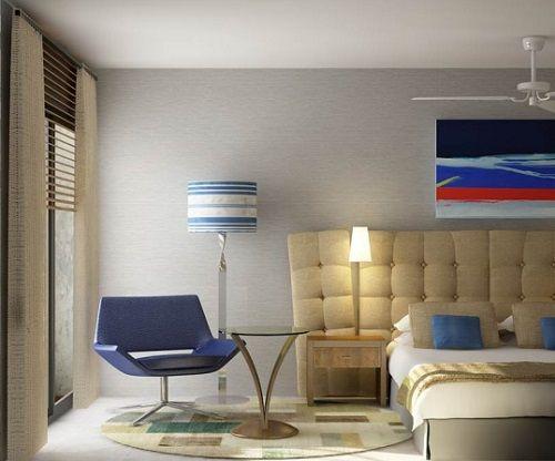 Dormitorio colorido cubista