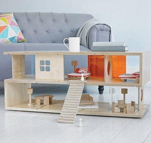 Mesa de café original en forma de casa de muñecas