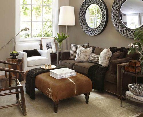 Sala de estar con colores otoñales