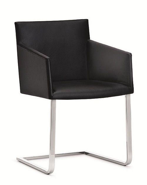 Contemporary leather cantilever chair